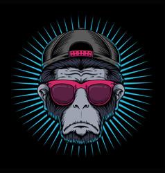 Monkey head eyeglasses vector