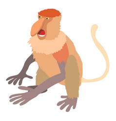 Nasalis monkey icon cartoon style vector