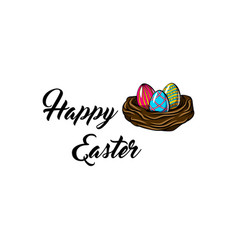 nest with paited eggs easter greeting card vector image