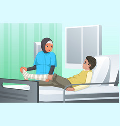 Nurse checking on patient with broken leg vector