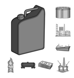 Oil industry monochrome icons in set collection vector