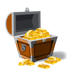 Old pirate chest full of gold bars vector
