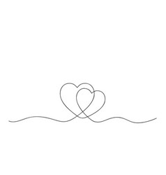 one continuous line two hearts concept love vector image