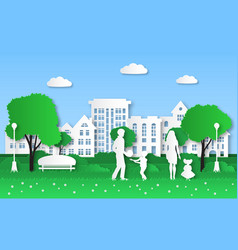 paper eco city family with kids in green natural vector image