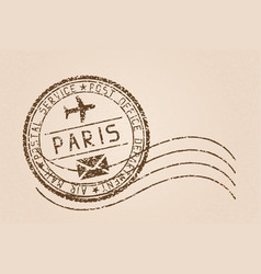 paris mail stamp old faded retro styled impress vector image