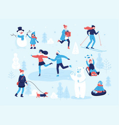 People in the park having fun and winter vector