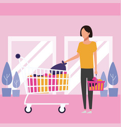 people shopping at mall vector image