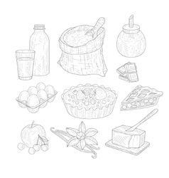 Pie Baking Ingredients Isolated Hand Drawn vector