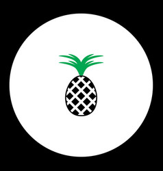 Pineapple fruit simple black and green icon eps10 vector