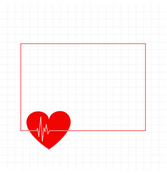 Red heart with cardiograph line medical background vector