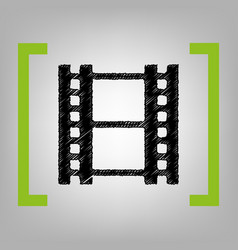 reel of film sign black scribble icon in vector image