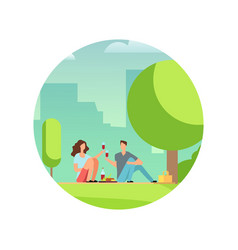 resting people on picnic vector image
