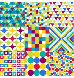 retro geometric pattern set vector image