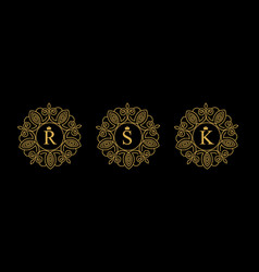 round emblem with gold letters r s k on vector image