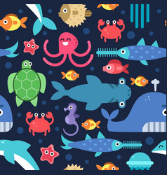 seamless pattern of sea underwater life vector image
