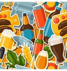 Seamless pattern with beer stickers and objects vector image