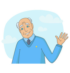 senior man waving his hand vector image