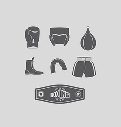 Set icons Boxing kick boxing Boxing equipment vector