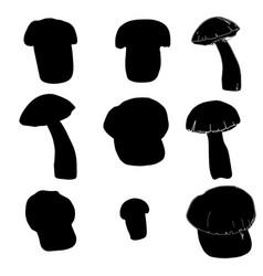 Set mushrooms silhouettes black color vector