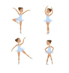Set of cute little ballerinas vector image