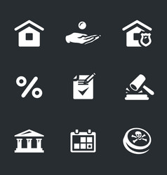 set of mortgage icons vector image