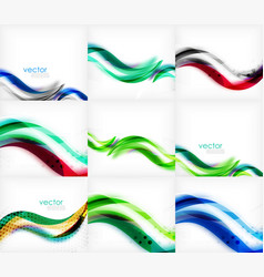 set of wave blurred colorful stripe backgrounds vector image