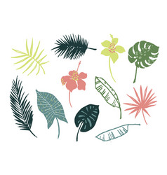 set tropical leaves and flowers vector image