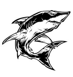 Shark angry black vector