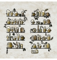 Shelves with beer icons sketch for your design vector image vector image