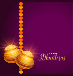 Shiny happy dhanteras festival wishes background vector