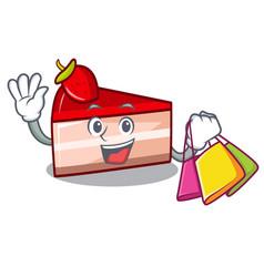 Shopping strawberry cake character cartoon vector