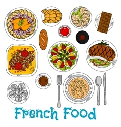 Sketch of worldwide popular french dishes vector image