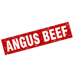 Square grunge red angus beef stamp vector