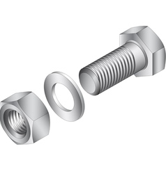 Stainless steel screw and nut vector image