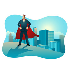 superhero businessman standing on rooftop of vector image