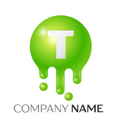 T letter splash green dots and bubbles letter vector