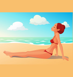 Tanned young woman having sunbath on the beach vector