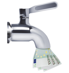 Tap pouring euro down the drain 3d vector
