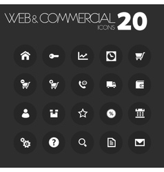 Thin commercial icons on dark gray vector
