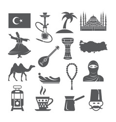 turkey culture icons vector image