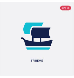 Two color trireme icon from greece concept vector