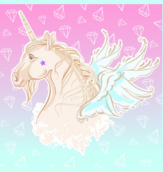 Vanilla style pretty unicorn with with wings in vector