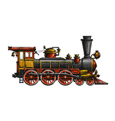 Vintage steam locomotive drawn ancient train vector