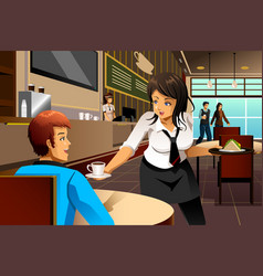 Waitress in a restaurant serving customers vector