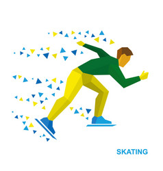 Winter sports - skating skater running on white vector