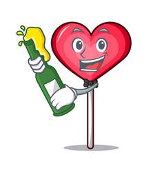 With beer heart lollipop mascot cartoon vector