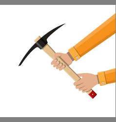 wooden pickaxe with iron tip in hand vector image