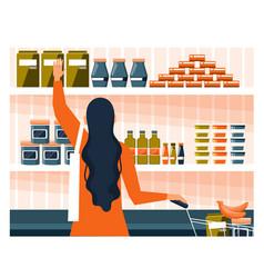 Yong woman doing grocery shopping vector