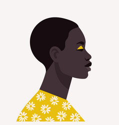 young african woman with short hair portrait of vector image