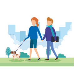 young couple with dogs in the park vector image